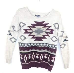 AEO Aztec Boho Knit Wool Blend Sweater